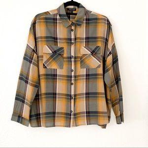 Topshop Plaid Button-Down Sleeve Shirt